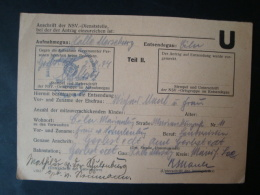 Verwandten-Meldekarte Der NSV.-Ortsgruppe (Nationalsozialistische Volkswohlfahrt), Aufnahmegau Halle Merseburg 1944 !! - Dokumente