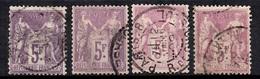 France Sage YT N° 95, Quatre Timbres Oblitérés. B/TB! A Saisir! - 1876-1898 Sage (Type II)