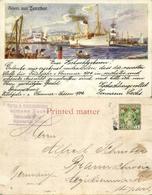 Tanzania, ZANZIBAR, Harbour Scene With Steamer (1904) Litho Postcard, Stamp - Tanzania