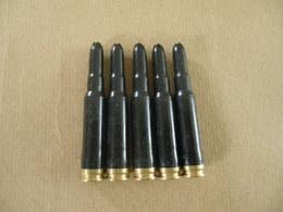 5 Cartouches Cal 7,62X51 à Blanc Noires Allemandes. - Equipment
