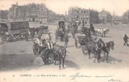 59 - Cambrai - La Place De La Gare Magnifiquement - ( Pub Sur Charrette Chicorée-Cantinière G.BLACK St-Olle ) - Cambrai