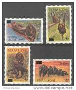 SIERRA LEONE  2008  WWF Monkeys, Chimpanzees New Currency Overprint 4v. Perf. Rare! - W.W.F.