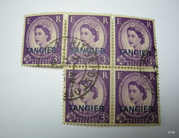 MOROCCO TANGIER ZONE 1952. Queen Elizabeth II. Pictorial Stamp 3d. (Blue). Ovptd. TANGIER. SG 294. Block Of 5. Fine Used - Uffici In Marocco / Tangeri (…-1958)