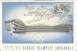 Italy Olympic Postcard With Olympic Machine Cancel Icehockey 30.1.1956 - Invierno 1956: Cortina D'Ampezzo