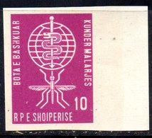 261 - 490 - ALBANIA 1962 ,    Yvert N. 571  NON DENTELLATO  ***  Malaria - Albania