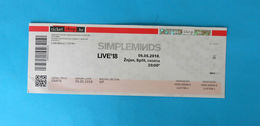 SIMPLE MINDS - LIVE'18 - Croatian Concert Ticket 05.05.2018. * Concert Ticket Billet Biglietto Boleto - Concert Tickets
