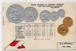 CPA Numismatique Monnaie Coins Gaufré Non Circulé Pérou - Monnaies (représentations)