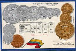 CPA Numismatique Monnaie Coins Gaufré Non Circulé VENEZUELA - Monnaies (représentations)