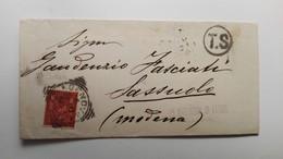 Storia Postale - 1890 - Lettera Da Genova A Sassuolo Con Timbro T.S - 1878-00 Umberto I