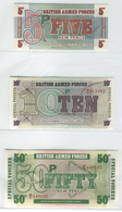 BRITISH ARMED FORCES M47-M49 1972 5, 10 & 50 New Pence Notes UNC - United Kingdom