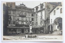 St Sebastian Platz Mit Chavez Denkmal, Hotel Couronne U. Post, Brig, Schweiz Svizzera Suisse Switzerland - VS Valais