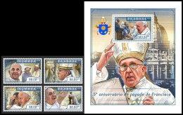 MOZAMBIQUE 2018 MNH** Pope Francis Papst Franzisuks Pape Francois 4v+S/S - IMPERFORATED - DH1818 - Päpste
