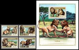 MOZAMBIQUE 2018 MNH** Lions Löwen Raubkatzen 4v+S/S - IMPERFORATED - DH1818 - Raubkatzen