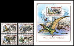 MOZAMBIQUE 2018 MNH** Flying Dínosaurs Flugsaurier Dinosaures Volants 4v+S/S - IMPERFORATED - DH1818 - Vor- U. Frühgeschichte