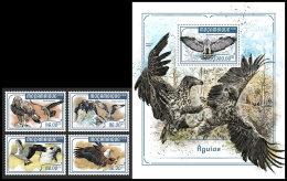 MOZAMBIQUE 2018 MNH** Eagles Adler Aigles 4v+S/S - IMPERFORATED - DH1818 - Adler & Greifvögel