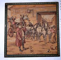 Ancien Tableau Cadre Bois Tapisserie Encadré Tenture Murale Depart Diligence - Tapis & Tapisserie