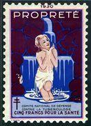 """Grand Timbre De 1930 Tuberculose Antituberculeux """"5 Fr Pour La Santé"""" - Erinnofilia"""