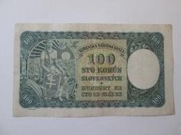 Slovakia 100 Korun 1940 Banknote-first Issue - Slovakia