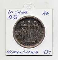 Cecoslovacchia - 1933 - 20 Corone - Argento - (FDC9752) - Cecoslovacchia