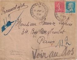 PNEUMATIQUE - BOULOGNE SALLE DE FETES (RARE) - AFFRANCHISSEMENT 2F (PASTEUR ET SEMEUSE) - VERSO PARIS 100 R.DE BILLANCO - Postmark Collection (Covers)