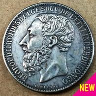 CONGO FREE STATE / Belgium ✤ 5 Francs 1887 Ag . Léopold II . Ø 37 Mm . REPLICA [JC-32391787210] - Congo (Belgian) & Ruanda-Urundi