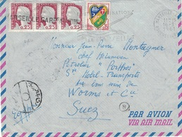 """MARIANNE DE CHEFFER - AFFRANCHISSEMENT A 0.90c POUR LE PETROLIER """"PORTOS"""" STE MOBIL TRANSPORT A SUEZ - EGYPTE. - Postmark Collection (Covers)"""