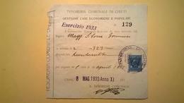 1933 RICEVUTA TESORIERE CHIETI RISCOSSIONE CASA POPOLARI MARCA DA BOLLO 50 CENT VITTORIO EMANUELE - Italia