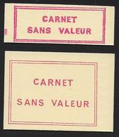 2 Couvertures Vides CARNET SANS VALEUR Formats 10t Et 20 T - Fictifs