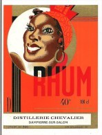 Etiquette RHUM 40° Distillerie Chevalier, Dampierres/Salon - Imprimeur Nolasque Années 1940 - - Rhum
