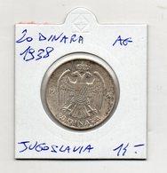 Jugoslavia - 1938 - 20 Dinara - Argento - Vedi Foto - (MW1239) - Jugoslavia