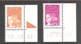 Marianne De LUQUET LA POSTE  1997 En Francs.Coins Datés N° 3094** Type 2 Et 3096** Type1. Rep. 2 Traits Et BOPST. Neufs. - 1997-04 Marianne Du 14 Juillet