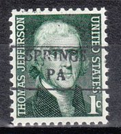 USA Precancel Vorausentwertung Preo, Locals Pennsylvania, Springs 882 - Vereinigte Staaten