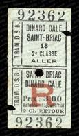Société Du Tramway De Dinard à Saint-Briac (DSB) :  Billet De Deuxième Classe,1927. - Spoorwegen