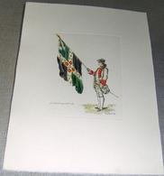 Lithographie « Le Salut Au Drapeau - Ordce De 1766» - Illustrateur E. Collomb- Ed. Hautecoeur, Paris - Lithographies