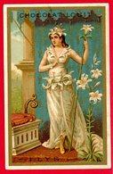 Chocolat Louit, Chromo Dorée, Jeune Femme, Fleur De Lys - Louit