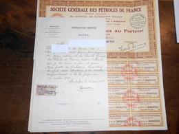 Société Générale Des Pétroles De France  - Action De Cent Francs Au Porteur - 1928 - + Reçu De Représentation Financière - Actions & Titres