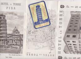 PUBLICITE EN 3 VOLETS HOTEL LA TORRE PISA ITALIE, AVEC ADESIF A COLLER SUR BAGAGES - Advertising