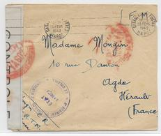 MAROC - 1942 - ENVELOPPE FM 6° TIRAILLEURS MAROCAINS Avec CENSURE De CASABLANCA => AGDE - Guerra De 1939-45