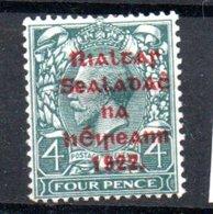 Irlande / N 17 B / 4 P  Vert Bleu / NEUF Avec Trace Charnière - 1922-37 Irish Free State