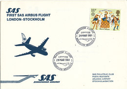 Great Britain First SAS Flight Airbus London - Stockholm 29-3-1981 - Covers & Documents