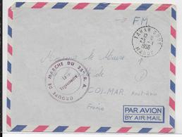 MAROC - 1956 - ENVELOPPE FM Du GROUPE De MARCHE Du 25°RA à TAHAR SOUK => COLMAR - Storia Postale