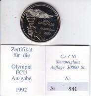 MONEDA DE ALEMANIA DE 1 ECU 1992 DE LAS OLIMPIADAS DE BARCELONA EN SU ESTUCHE ORIGINAL Y CON CERTIFICADO DE GARANTIA - [10] Commémoratives
