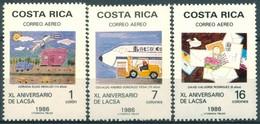 Costa Rica - 1986 - Yt PA 893/895 - 40 Ans De La Compagnie LACSA - ** - Costa Rica
