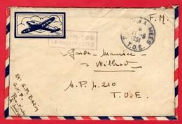 -- PAR AVION - LETTRE EN F.M.  - S.P 4.210 - T.O.E. -- - Marcophilie (Lettres)