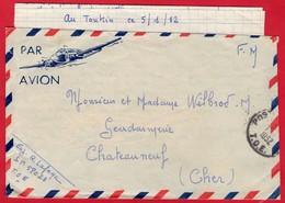 -- PAR AVION - LETTRE EN F.M.  Du TONKIN S.P. 580 23 T.O.E . Pour La FRANCE -- - Marcophilie (Lettres)