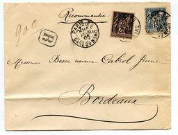 France - Type Sage - Bicolore - Recommandée De Paris à Bordeaux - 1895 - 2 Scans - (B2135) - 1876-1898 Sage (Tipo II)
