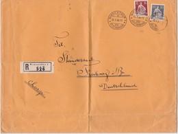 SUISSE  1936 LETTRE RECOMMANDEE DE WINTERTHUR AVEC CACHET ARRIVEE FREIBURG BREISGAU - Suiza