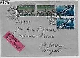 1947 100 Jahre Eisenbahn Chemin De Fer 277/484 280/487 Waldstatt To St. Gallen 16.VIII.47 Expres - Schweiz