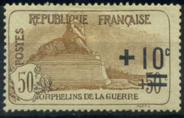 France 1922 Yv. 167 Neuf * 80% Surimprimé Orphelins De Guerre, + 10 - France