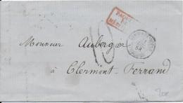 """TURQUIE BUREAU FRANCAIS - 1856 - MARITIME """"PAQUEBOTS DE LA MEDITERRANEE"""" - LETTRE De CONSTANTINOPLE => CLERMONT-FERRAND - Turkey"""